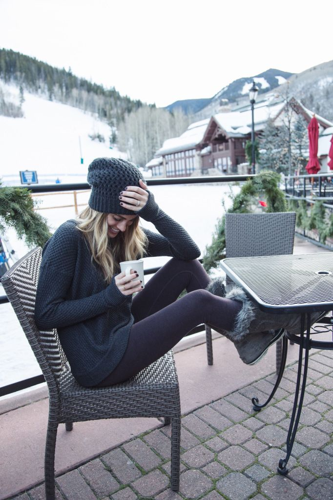 Cozy/Performance formula: turtleneck long sleeve tee plus leggings/thermals, add uggs, beanie & scarf. Love this look for lounging and for days when I may get adventurous!