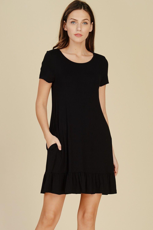 Short Sleeve Ruffle Hem Dress Style D5420 Pre Order Knit Dress Featuring Solid Short Sleeve Round Neck Short Ruffle Dresses Knit Dress Ruffle Hem Dress [ 1500 x 1000 Pixel ]