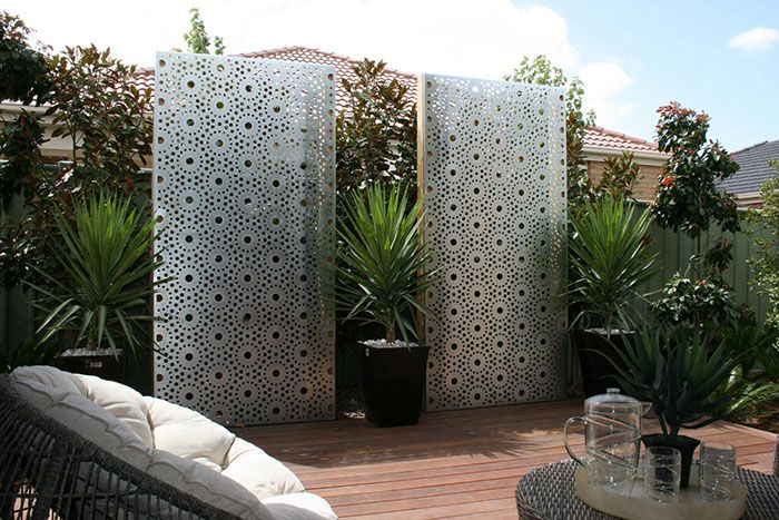 Metal Privacy Screen privacy laser cut metal screens for gardens - lump sculpture