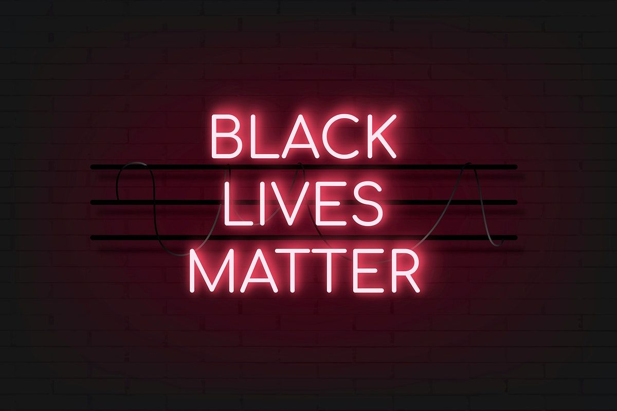 Neon red black lives matter sign vector free image by