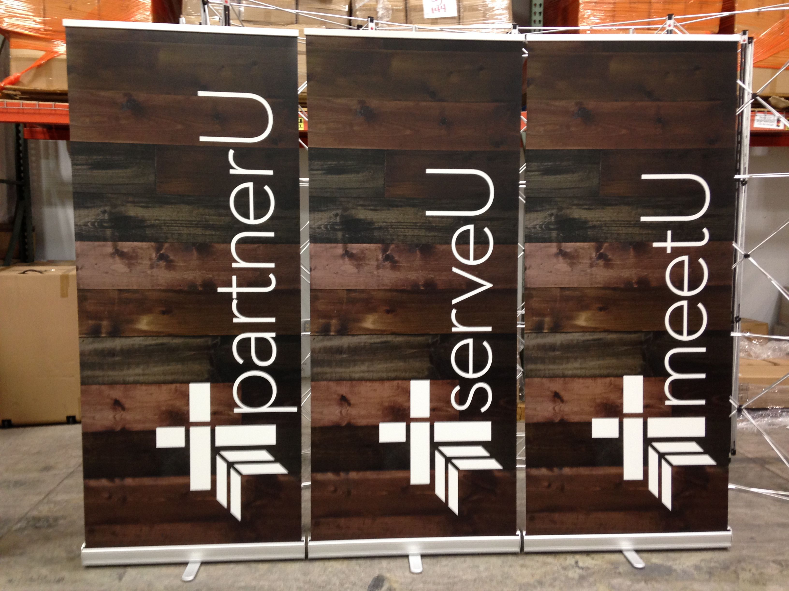 Christian education and hospitality pull-up signs for Lee's Summit Community Church (Lee's Summit, MO). Perfect example of everything done right.