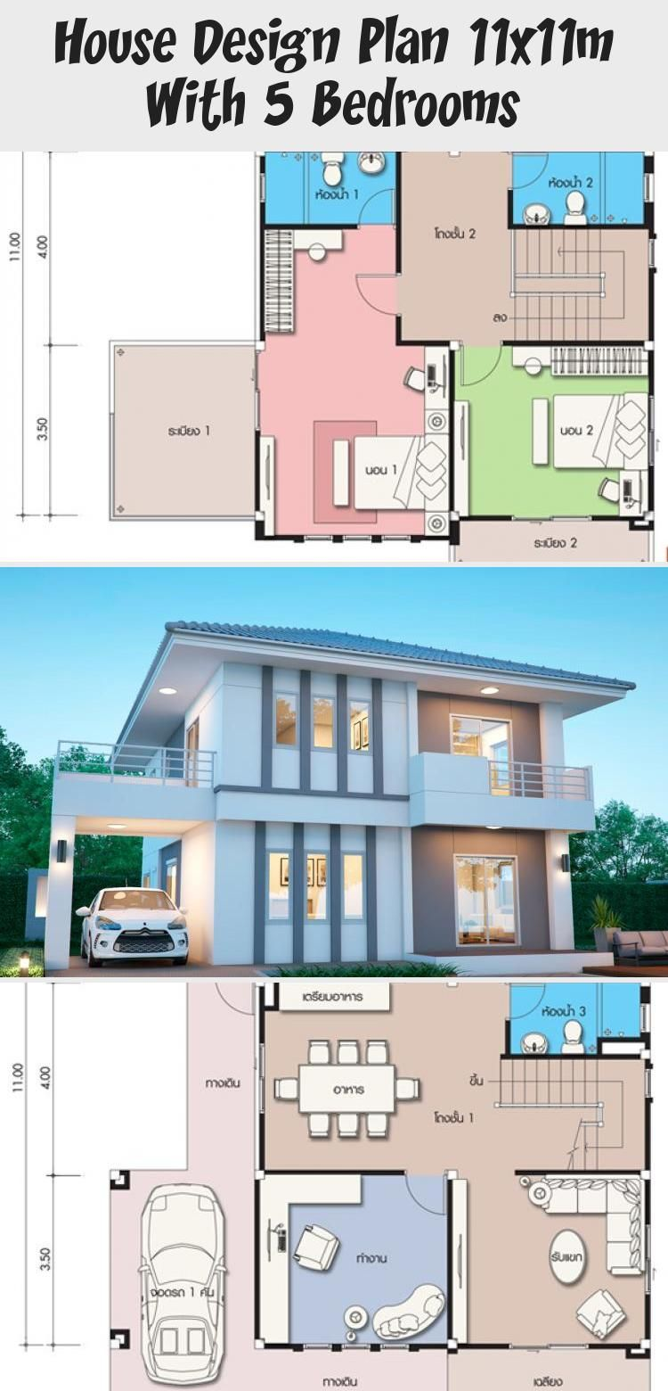 House Design Plan 11x11m With 5 Bedrooms Home Design With Plansearch Modernhousesminecraft Modernhousesmodel M In 2020 Home Design Plans House Design Modern House