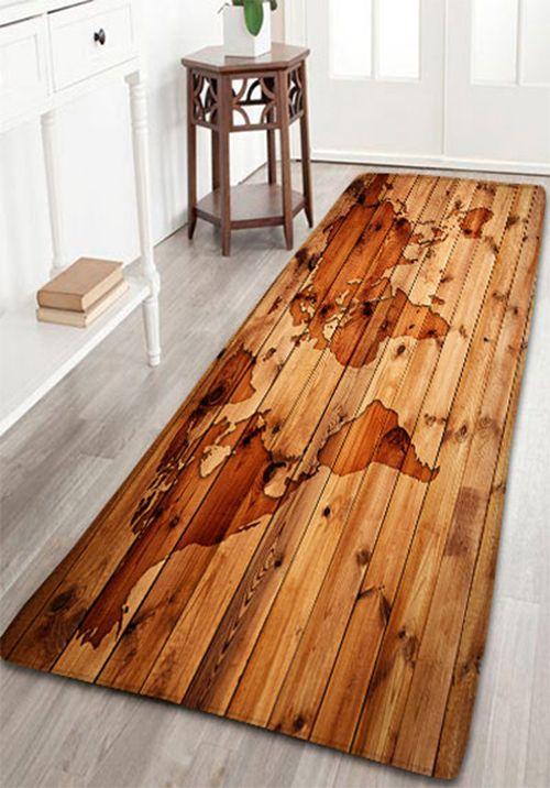 Flannel Antiskid Vintage Wood Grain Map Rug | Decorative items ...