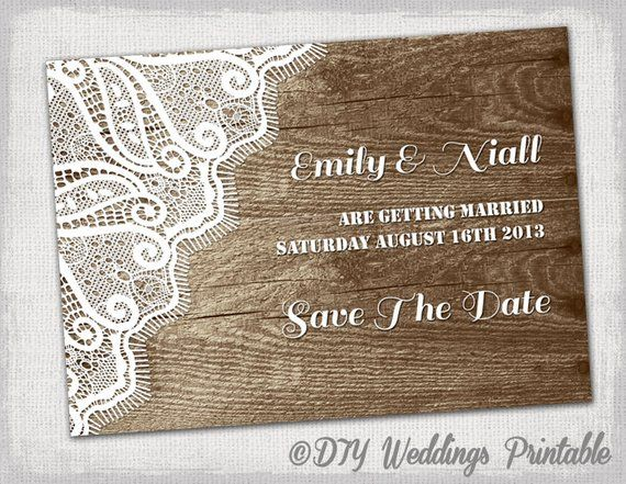 Rustic Save The Date Template Printable Diy Wood Lace