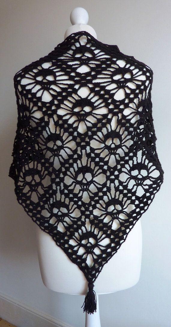 MADE TO ORDER Crochet black skull shawl/ Hand made shawl/ unique ...