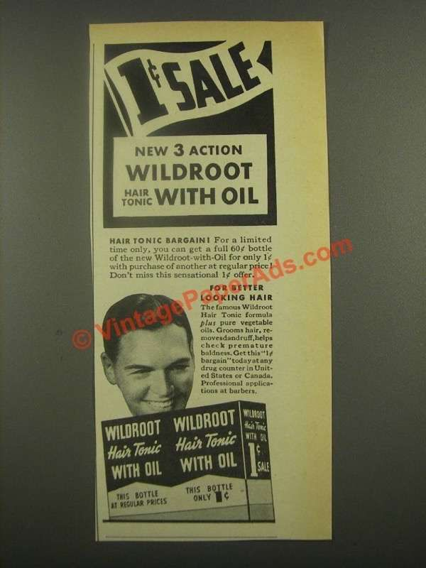 1938 Wildroot Hair Tonic With Oil Ad 3 Action Vintage Hair Care