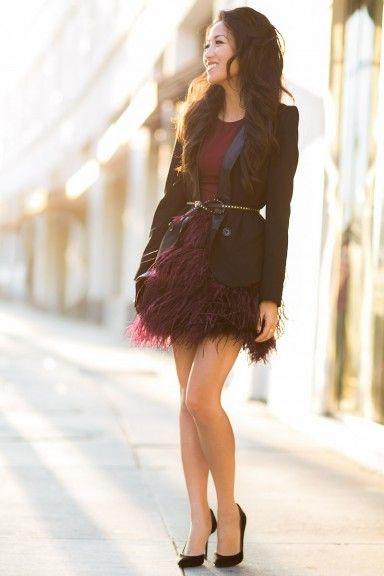 Wine :: Burgundy skirt