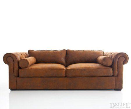 Sofa Chesterfield 240x115 cm Braun Wildlederoptik 3-Sitzer Amazon