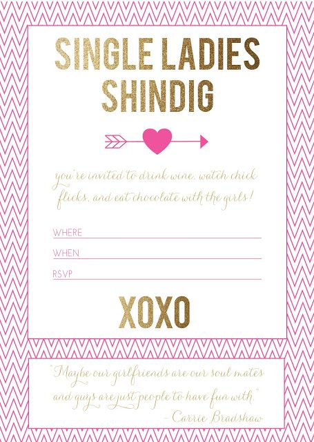 free printable single ladies valentine\u0027s day party invitation (via