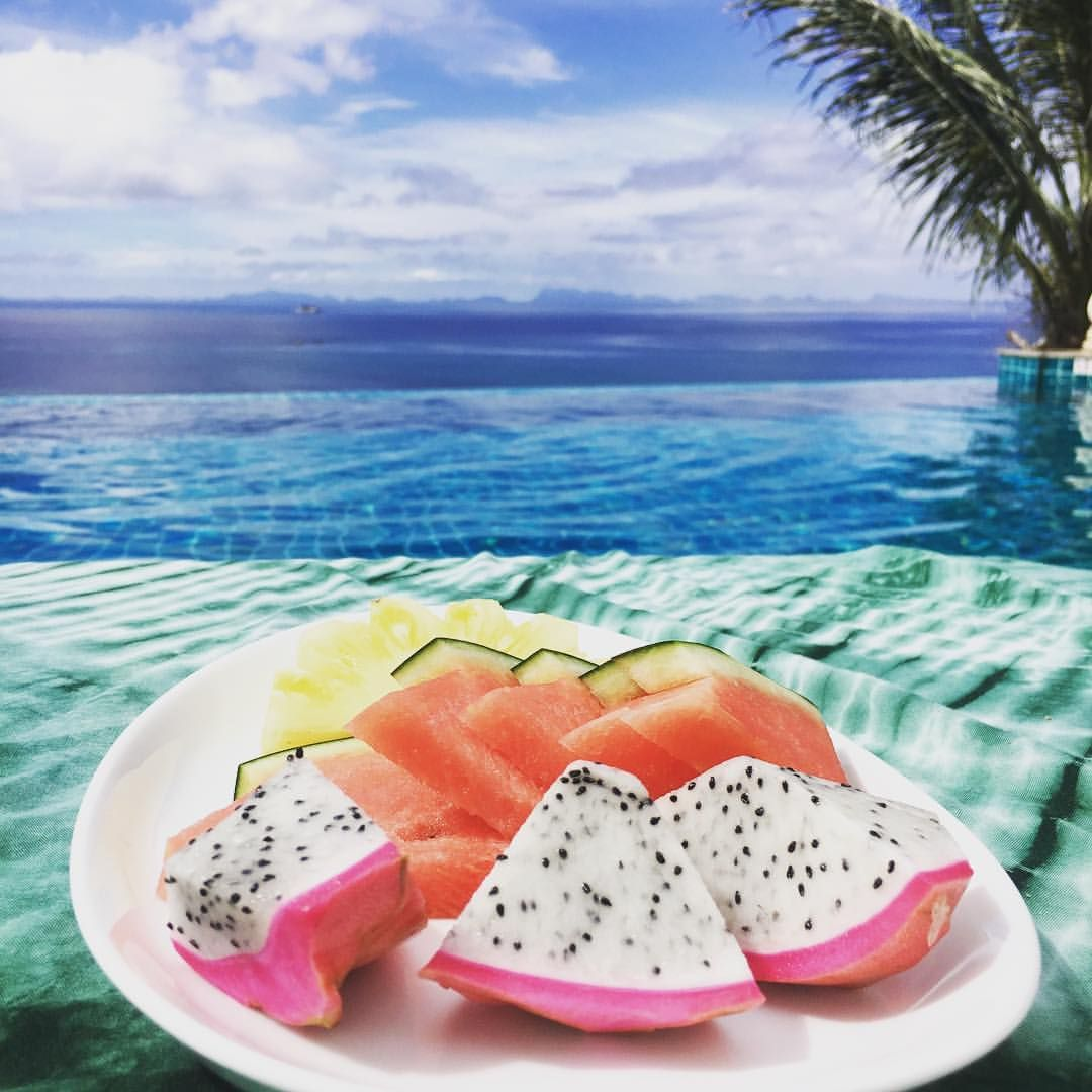 Dragonfruit Watermelon And Pineapple By The Infinity Pool