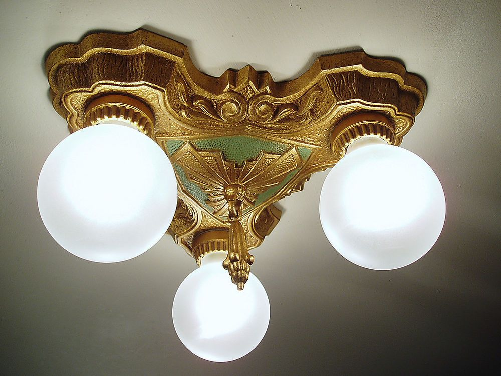 1920s-30s Vintage LASALLE Cast Iron Art Deco Flush Mount Ceiling Light  Fixture