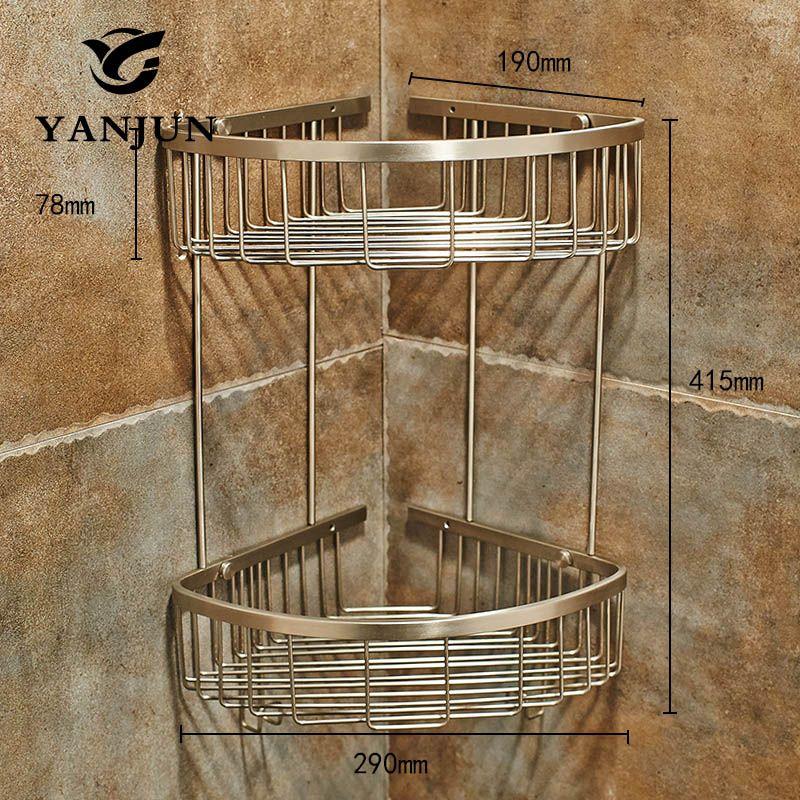 Yanjun 304 Stainless Steel Brushed Corner Shelf Shower Caddy Tidy