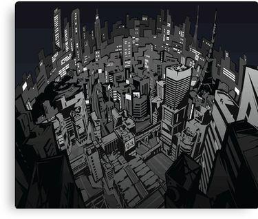 Persona 5 City Canvas Print Persona 5 City Illustration Persona
