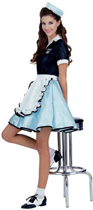 Car Hop Girl Women\u0027s Costume Light blue skirts, Uniform dress and - black skirt halloween costume ideas