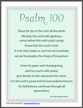 Psalm 100 Kjv Printable Worksheet Coloring Pages