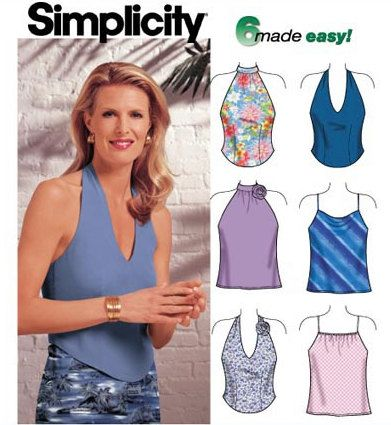 HALTER Top Sewing Pattern ~ PLUS SIZE Summer Tops Easy 4 Sizes ...