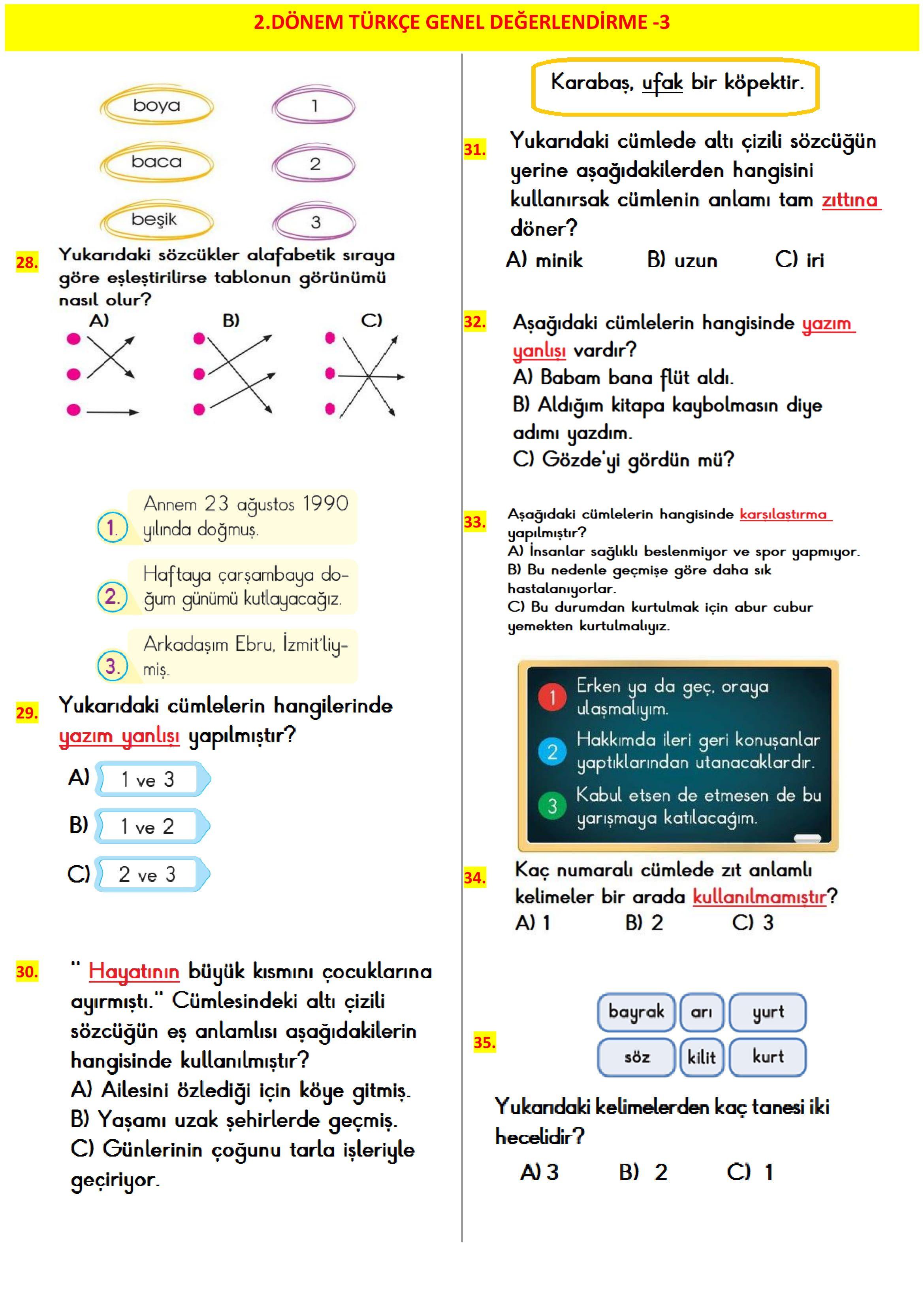 2 Sinif 2 Donem Matematik Degerlendirme 3 2020 Matematik Egitim Faaliyetleri Sinif