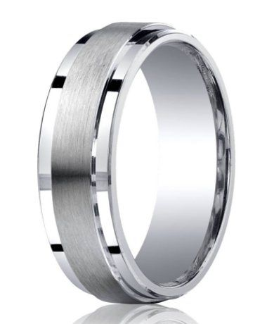 Mens Silver Wedding Ring With Satin Center And Polished Step Down