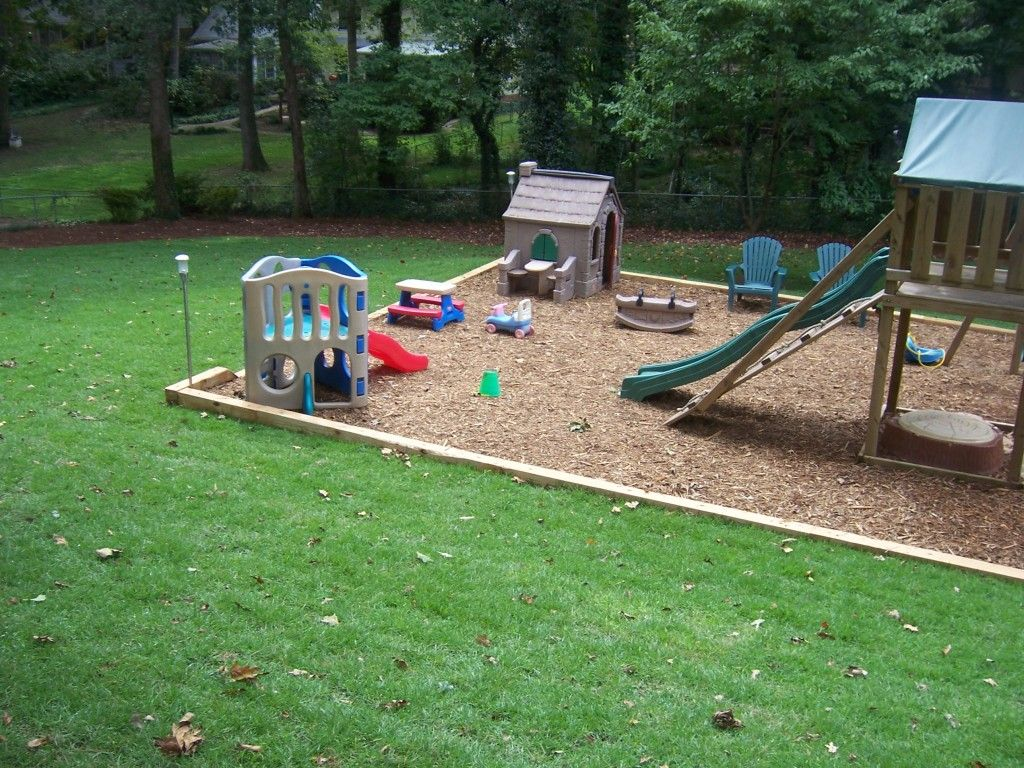Swing set with railroad ties and mulch outdoors for Play yard plans