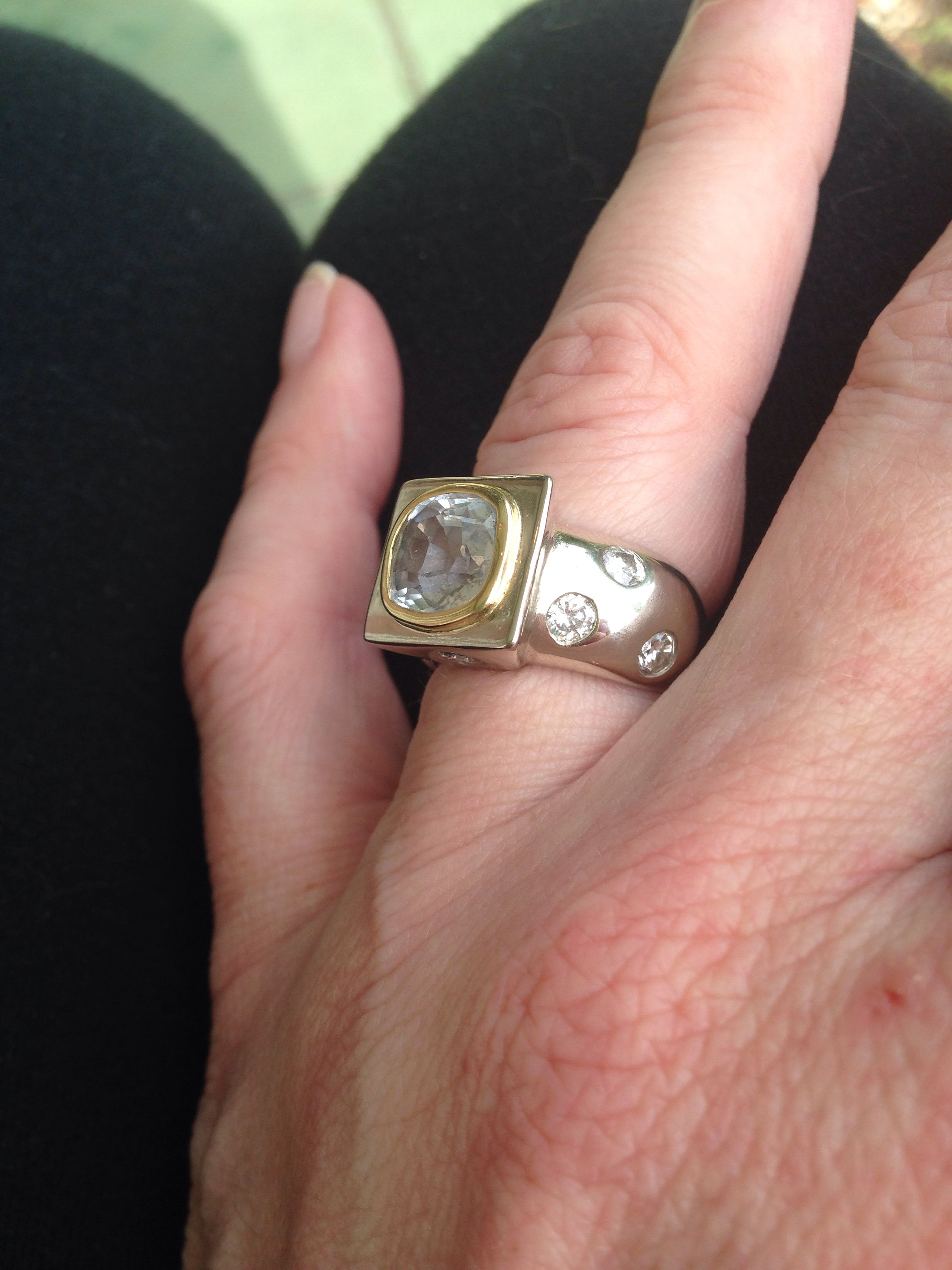 My gorgeous, one-of-a-kind white and yellow gold, white sapphire ...