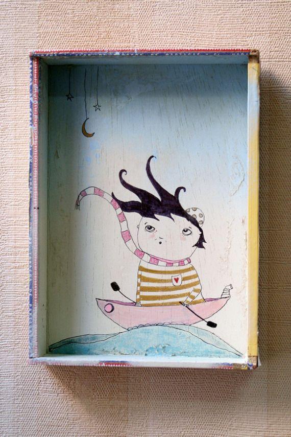"""Ilustración caja """"cian en mar"""", Arte, Ilustración"""