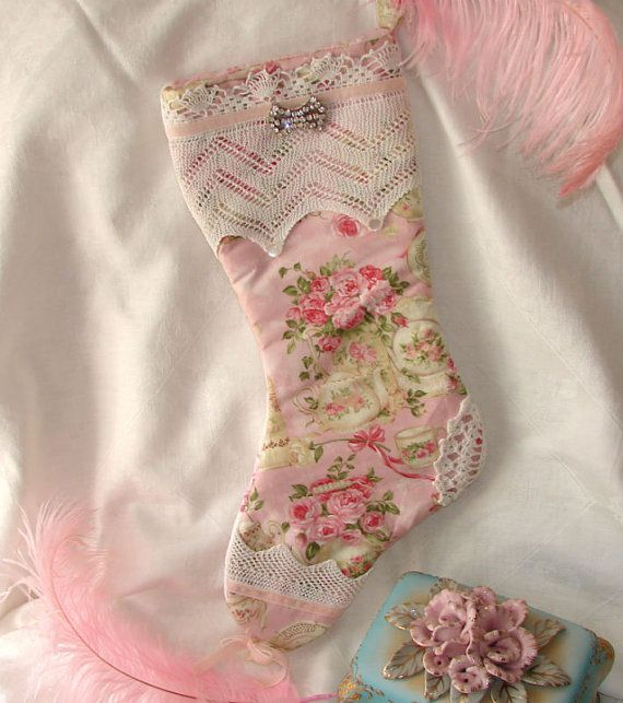 Shabby Cottage Chic Pink Tea Time Christmas Stocking by treasured2, $40.00