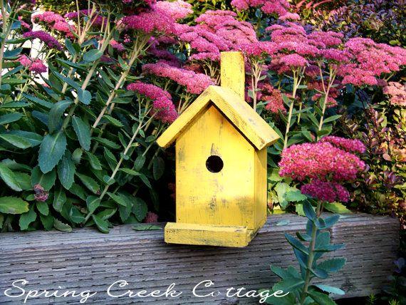 Bird House Yellow Primitive Cedar Bird House by springcreekcottage