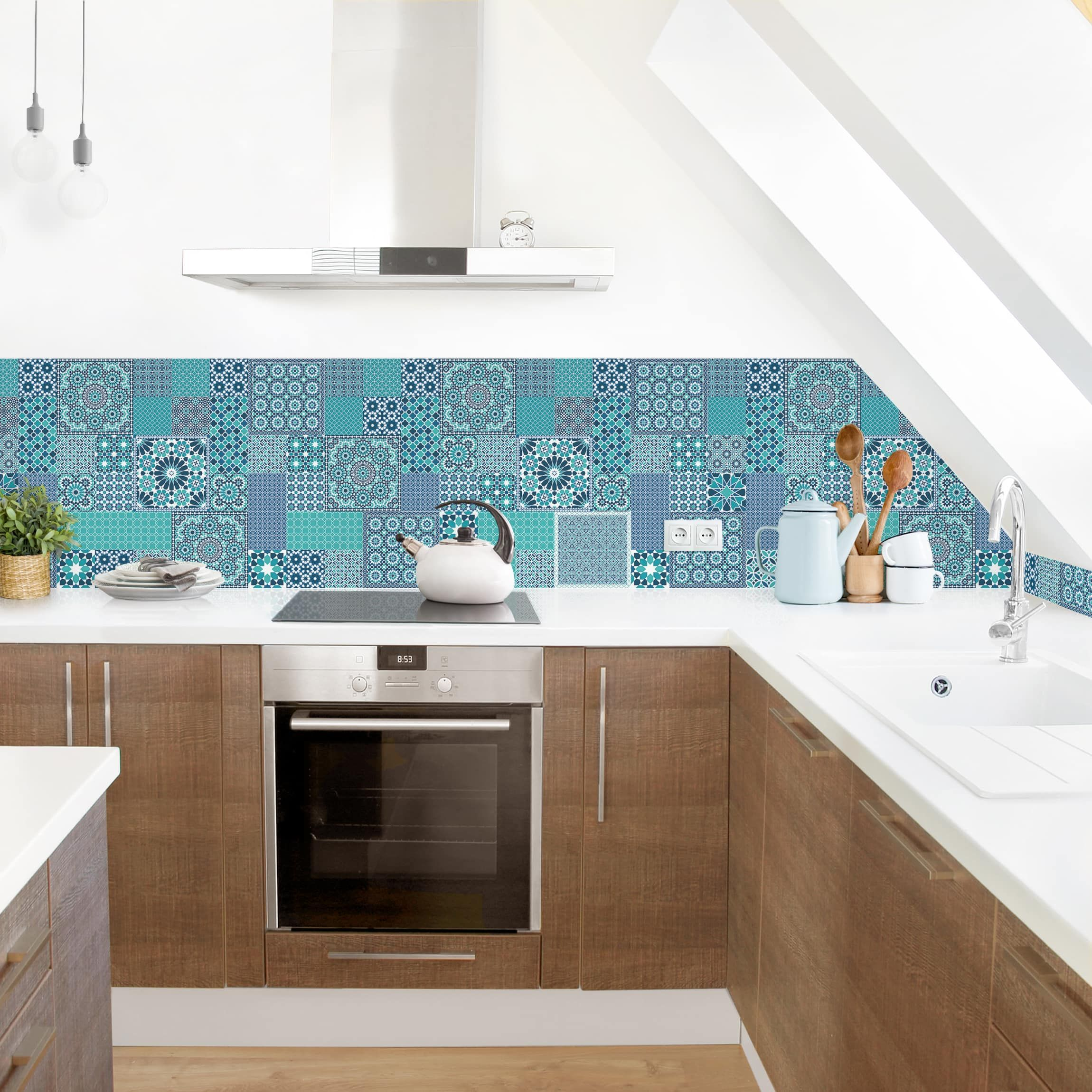 Rivestimento cucina - Mosaici marocchini turchese | Cucina ...