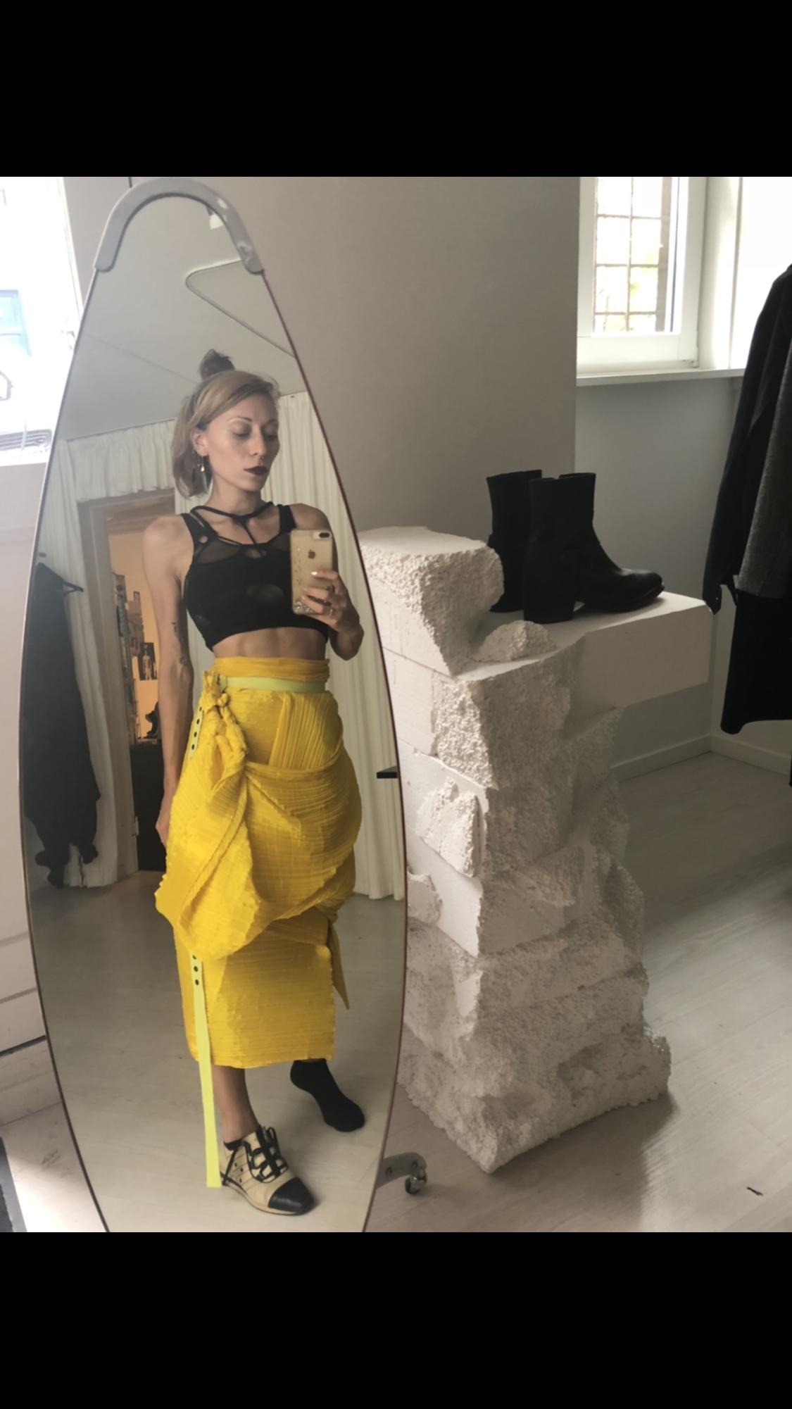 Cfw streetstyle/ Issey miyake, Vo/ft, Dior #valeriyaolkhova #voft #voft_knit #bustier #shapewear #sportfeel #black #knitted #lycra #smarttextiles #streetstyle #slowdesign #slowfashion #sustanabledesign #unconventional #conceptual #madeincopenhagen
