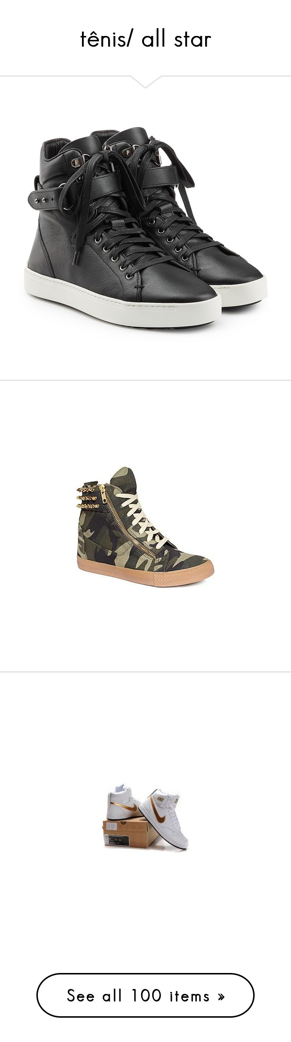 """""""tênis/ all star"""" by sem-toledo on Polyvore featuring shoes, sneakers, giuseppe zanotti, black leather shoes, black shoes, real leather shoes, zipper shoes, black sneakers, leather sneakers and black leather sneakers"""