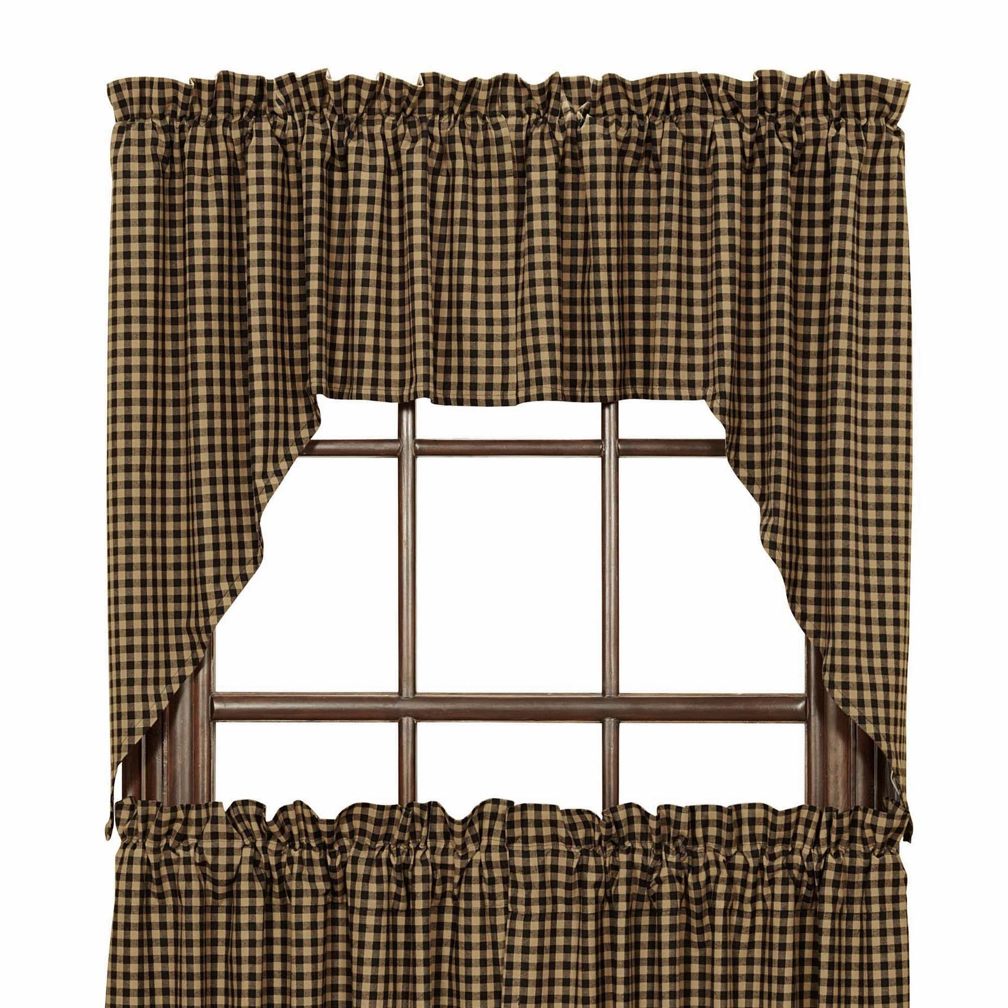 Black Check Scalloped Lined Swag Curtains | Swag curtains ...
