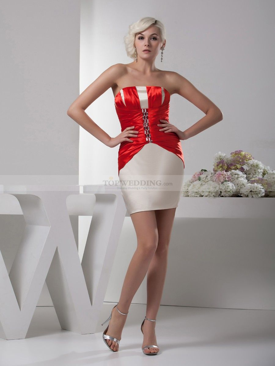 Wedding gown with red accents  Rhinestone Embellished Two Tone Short Satin Party Dress  Two tones