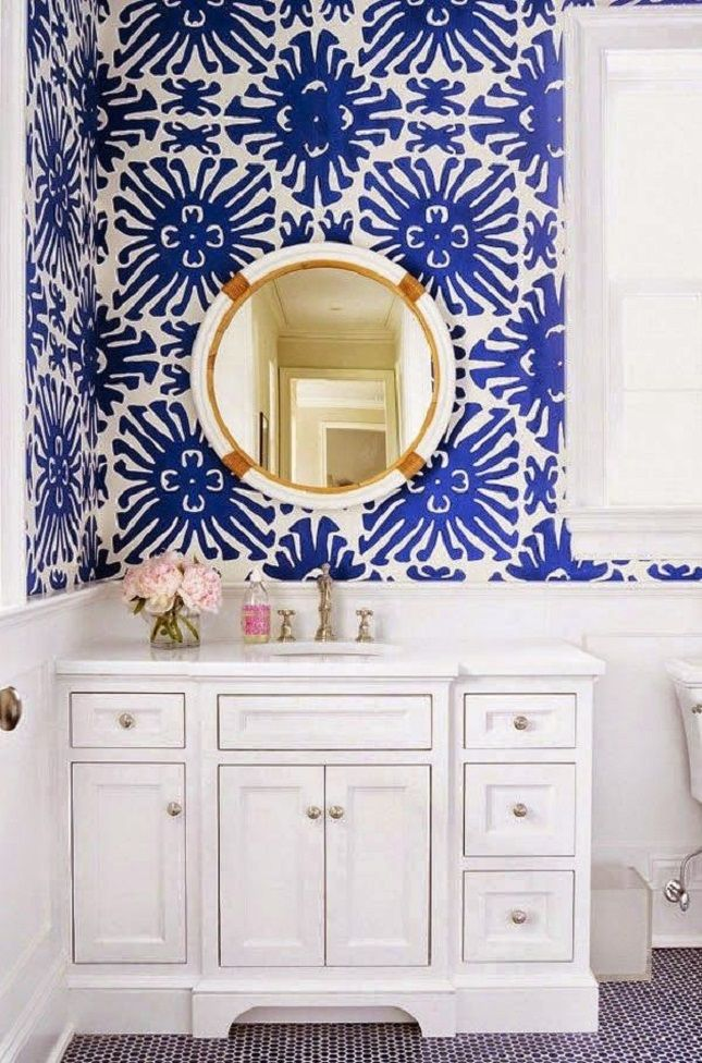 Give your bathroom a nautical flair with cerulean blue wallpaper.