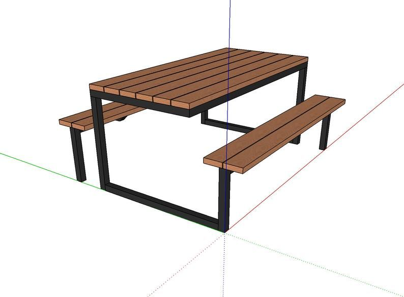 Diy Modern Industrial Picnic Table Plans 6ft Steel And Wood Outdoor Table Diy Plans Woodworking Plans Industrial Furniture Rustic Picnic Table Plans Picnic Table Modern Diy