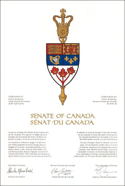Letters Patent confirming the use of a Badge by the Senate of Canada