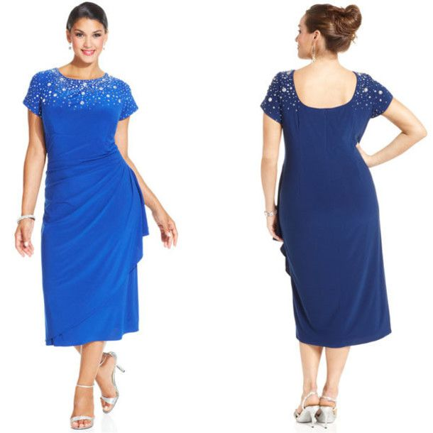 Blue Short Plus Size Dresses