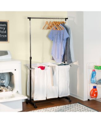 Honey Can Do Rolling Laundry Cart With Hanging Bar Laundry Center Laundry Hamper Hanging Bar