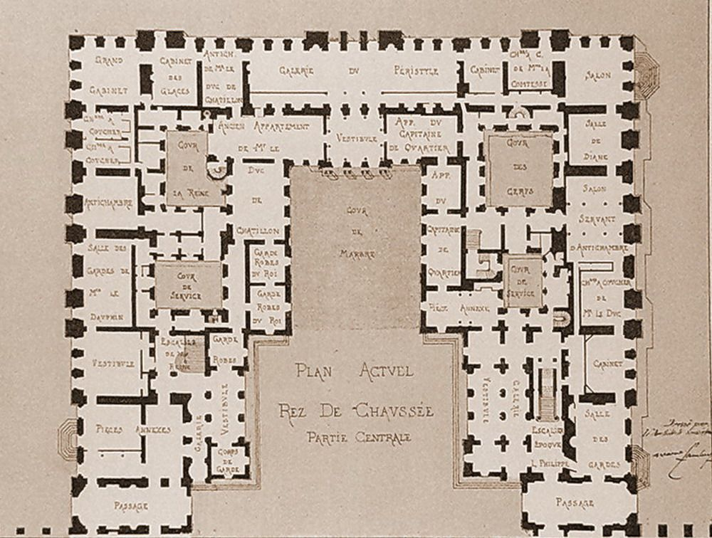 Plan Of The Ground Floor After Mansart Chateau Versailles Baroque
