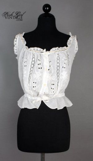 1920s White Cotton Embroidered Camisole