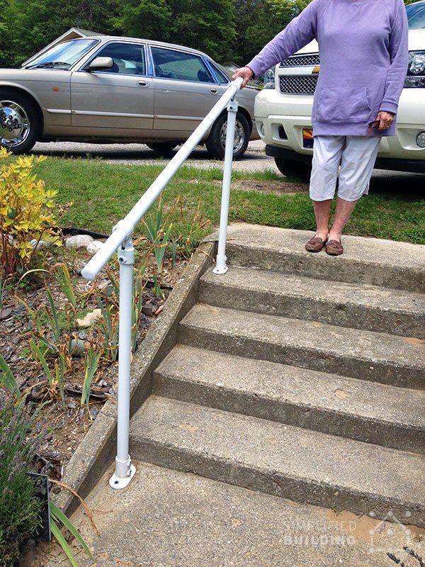 Simple Sturdy Exterior Stair Railing Keeklamp Handrail Pipe Railing Pinterest Exterior
