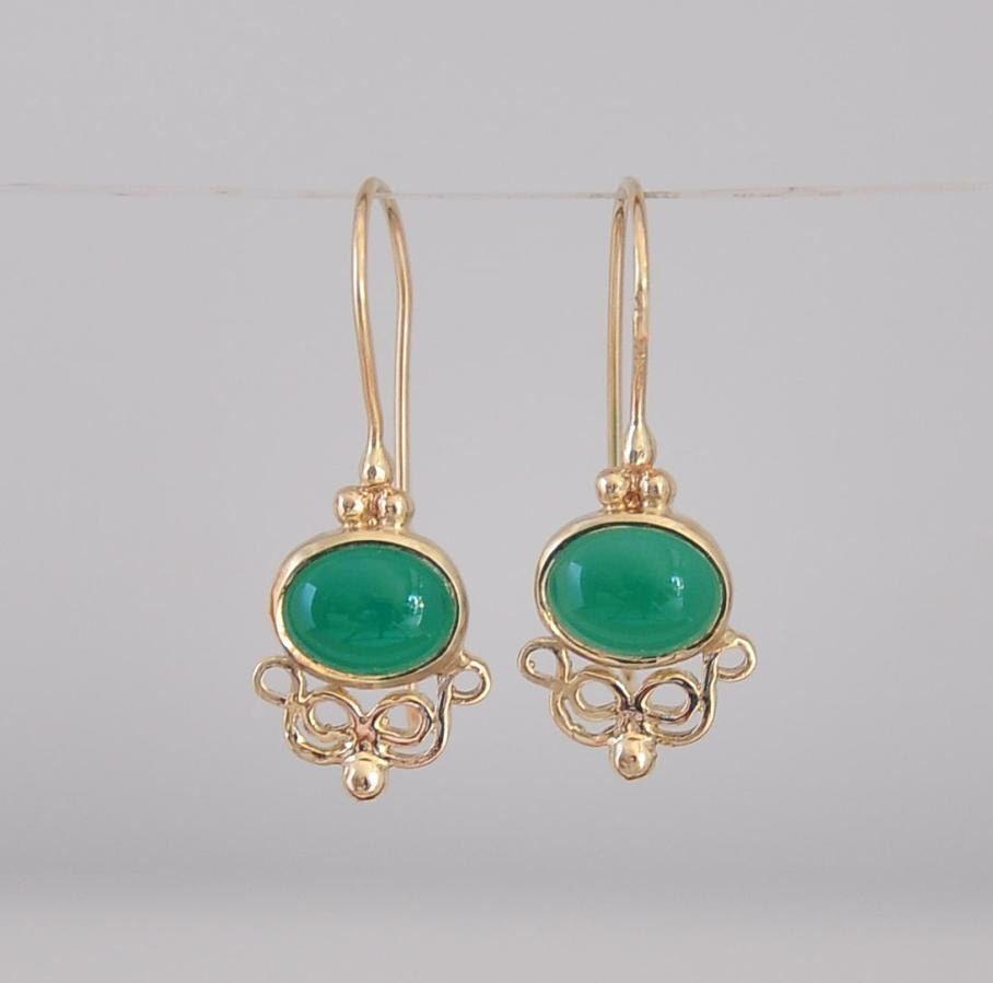 Unique 14k Gold Earrings , Solid Gold Earring , Green Onyx Earring , Gold  Dangle Earring