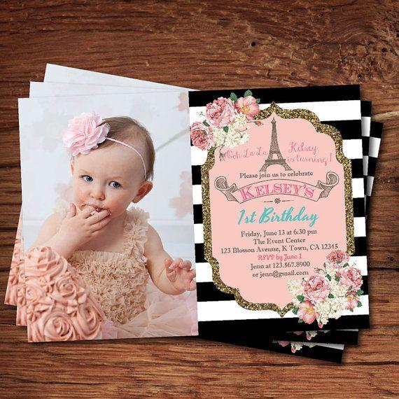 Elegant 1st First Birthday Invitation Pink And Gold Black White Stripes Floral 6th 10th Birthd