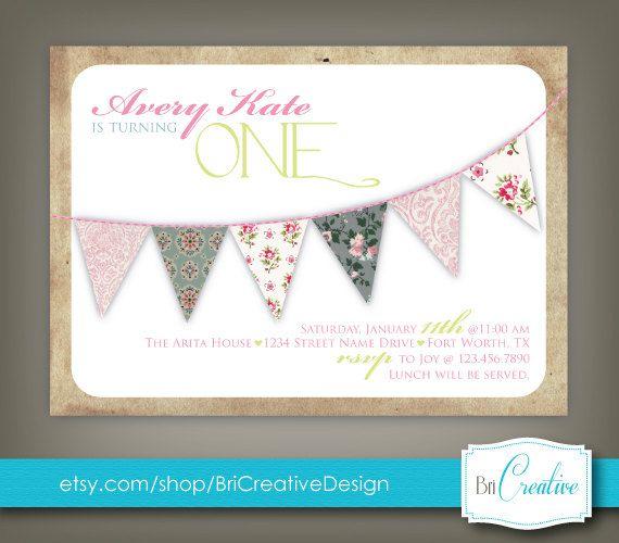 Cute vintage first birthday invitation graphic design - Erster geburtstag ideen ...