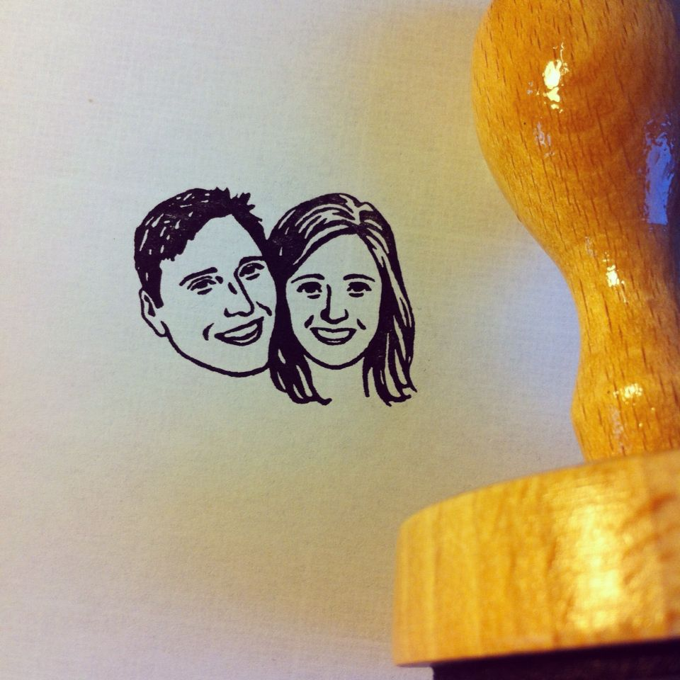 Custom Face Stamp www.lilimandrill.fr @lilimandrill #etsy #couple #stamp #portrait #wedding #bride #gift #christmasgift