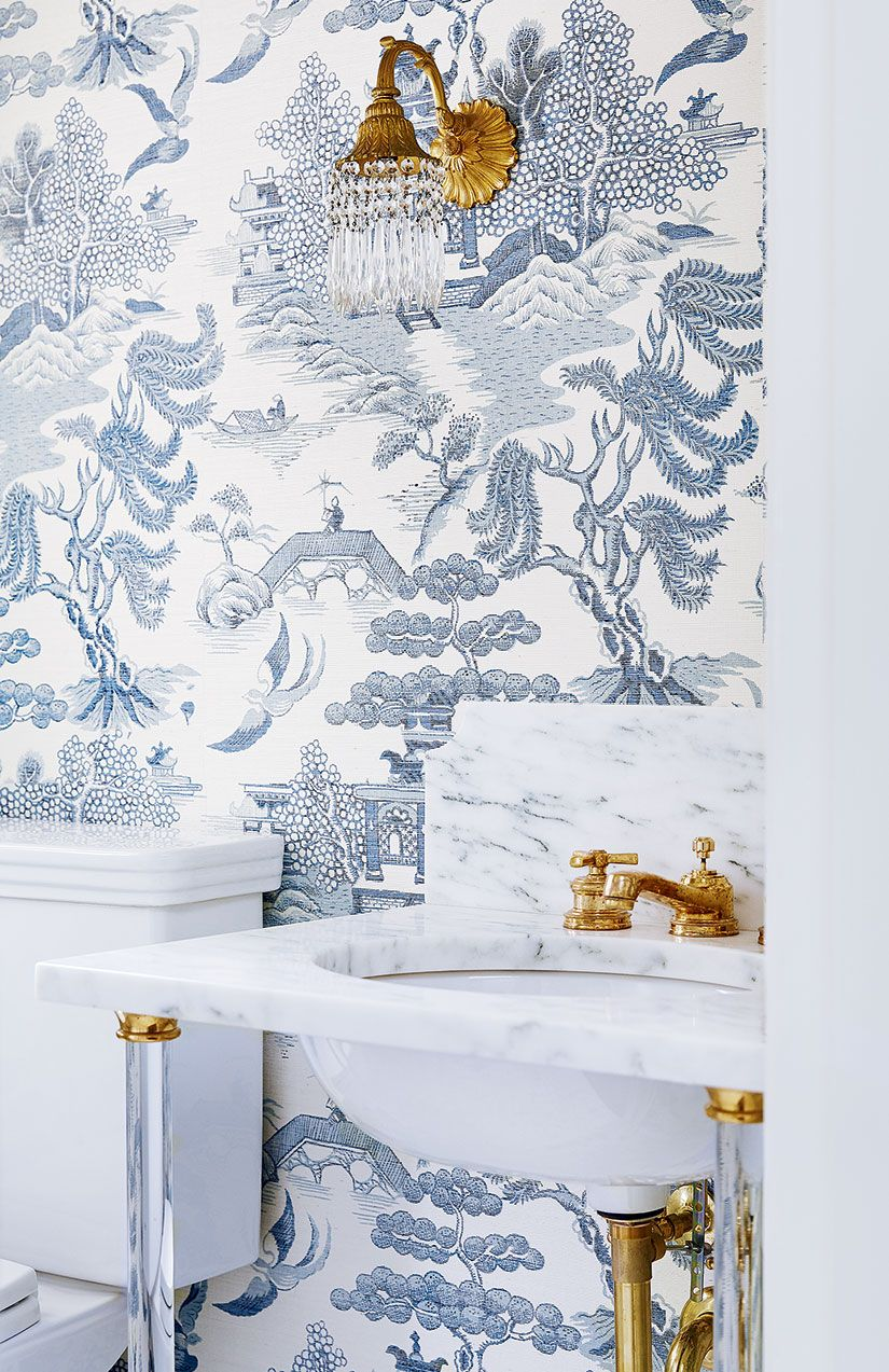 White and blue powder room features walls clad in trim molding framing - House Beautiful Fresh And Fabulous Zsazsa Bellagio Like No Other