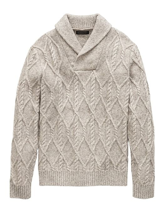 acaf046e73 Banana Republic Mens Cotton-Blend Cable-Knit Shawl-Collar Sweater Light Gray
