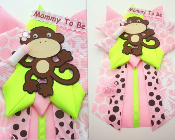 Baby Shower Favors Girl Monkey ~ Monkey girl baby shower corsage pink and lime green ready to