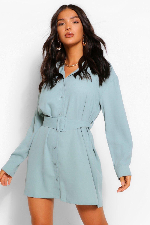 Belted Button Down Long Sleeve Shirt Dress Boohoo In 2020 Long Sleeve Shirt Dress Dress Shirt Sleeves Belt Dress Outfit [ 1500 x 1000 Pixel ]