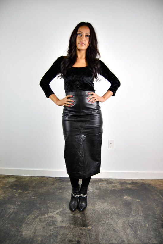 vintage skirt, 1980's long black leather skirt, high waisted ...