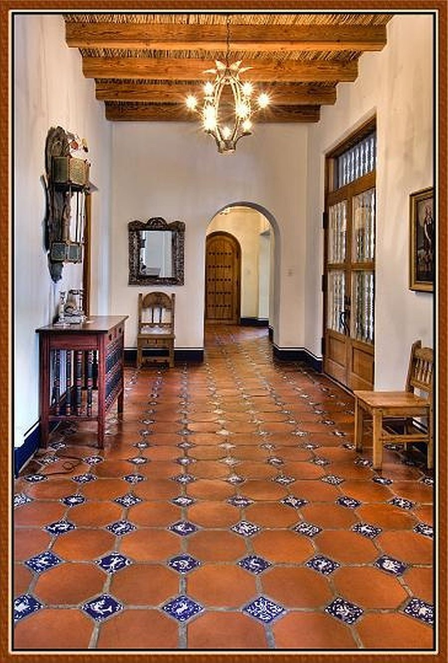 Love the saltillo and tile floor and the ceiling for Spanish style floor tiles